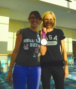 Me with Dotsie Bausch and her Olympic medal at the First National Women's Bike Summit, Long Beach, CA.